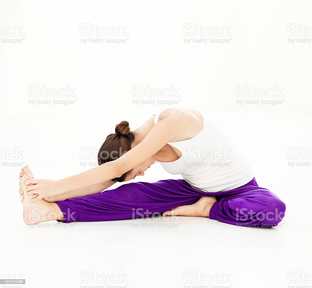 Yoga - Head To Knee Forward Bend stock photo