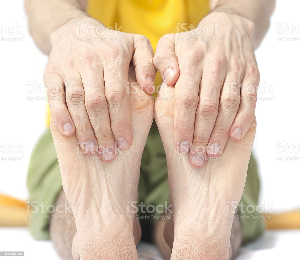 yoga hide foots - Fußsohle und Zehen stretchen stock photo