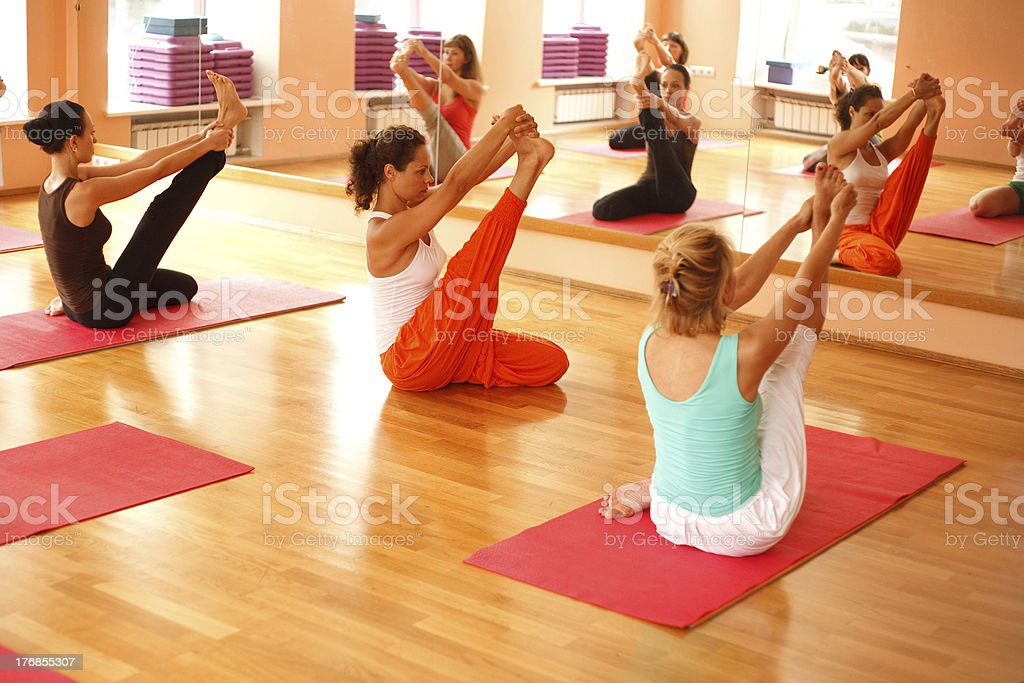 Yoga in front of the mirror royalty-free stock photo