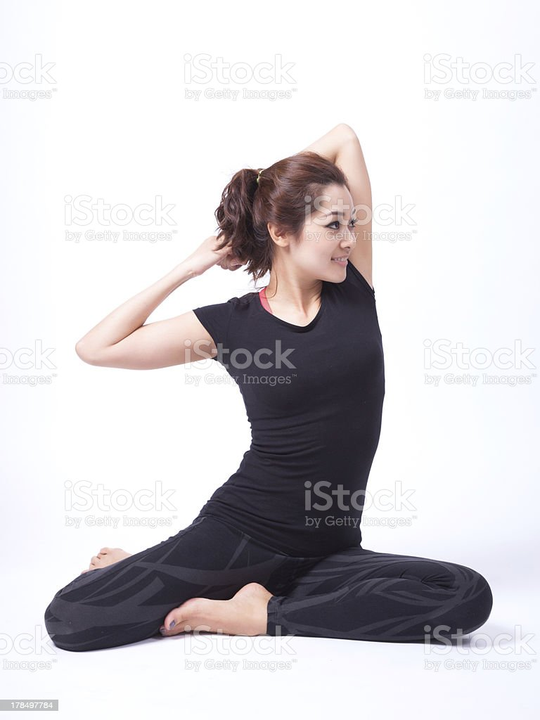 yoga in isolated royalty-free stock photo