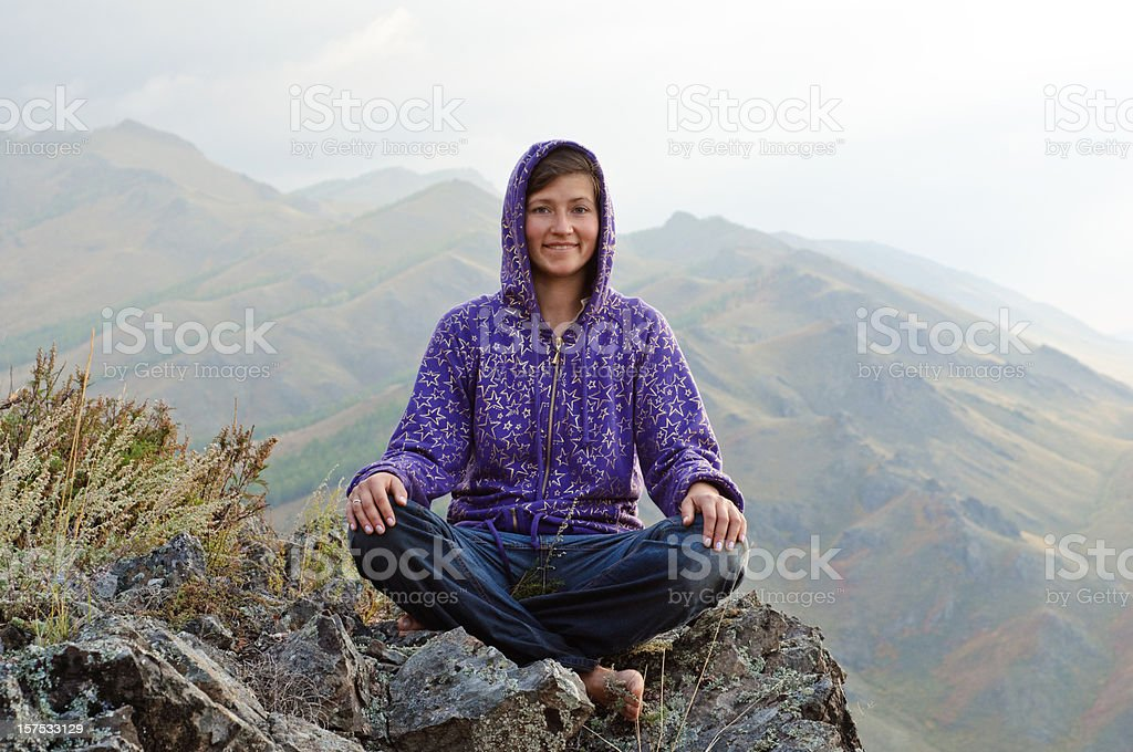 yoga in mountains royalty-free stock photo