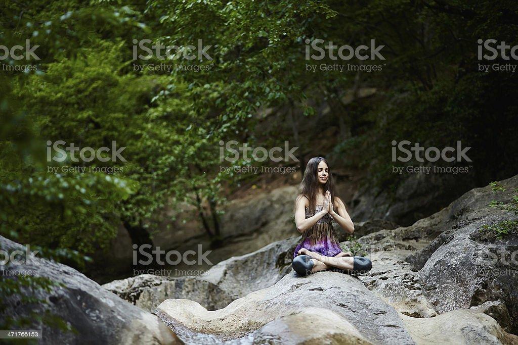 Yoga in mountains royalty-free stock photo