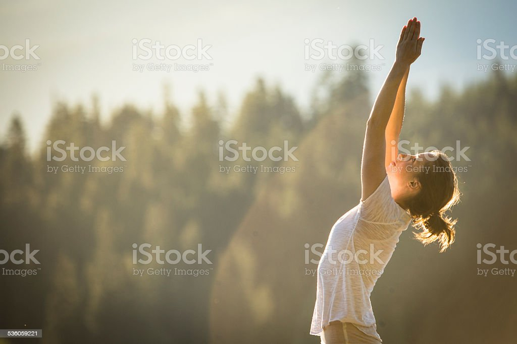 Yoga in nature. stock photo