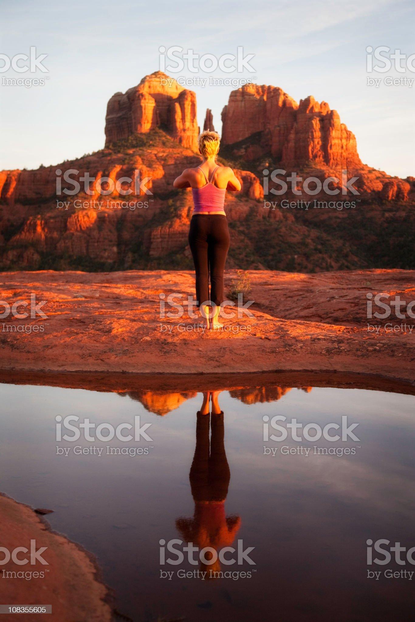 Yoga in Sedona royalty-free stock photo