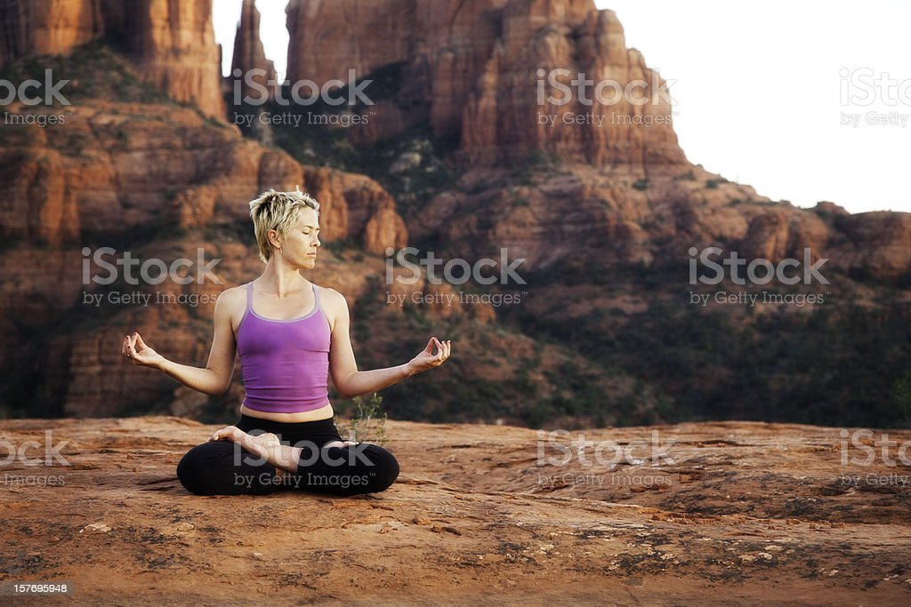 Yoga in Sedona stock photo