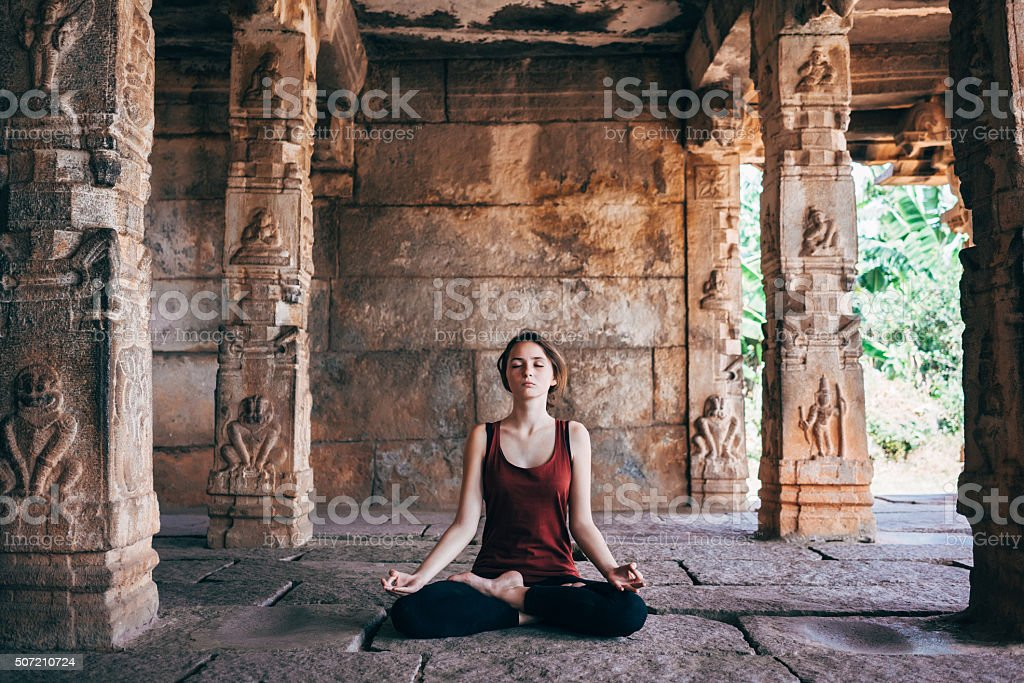 Yoga in temple stock photo