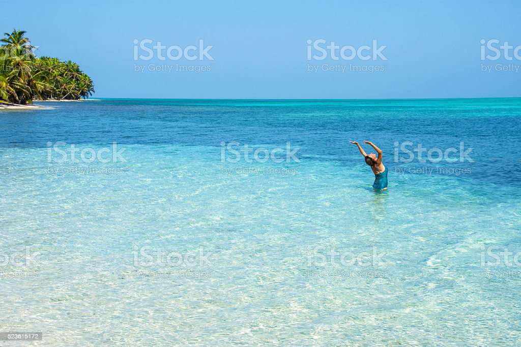 Yoga in the atoll stock photo