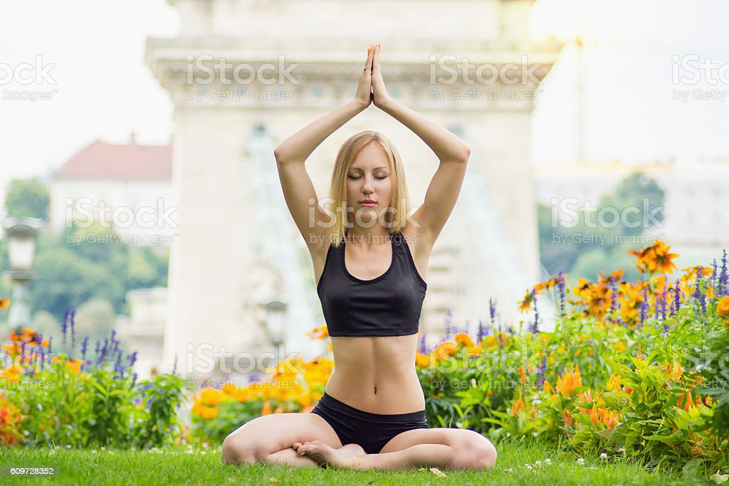 Yoga in the center of Budapest city stock photo