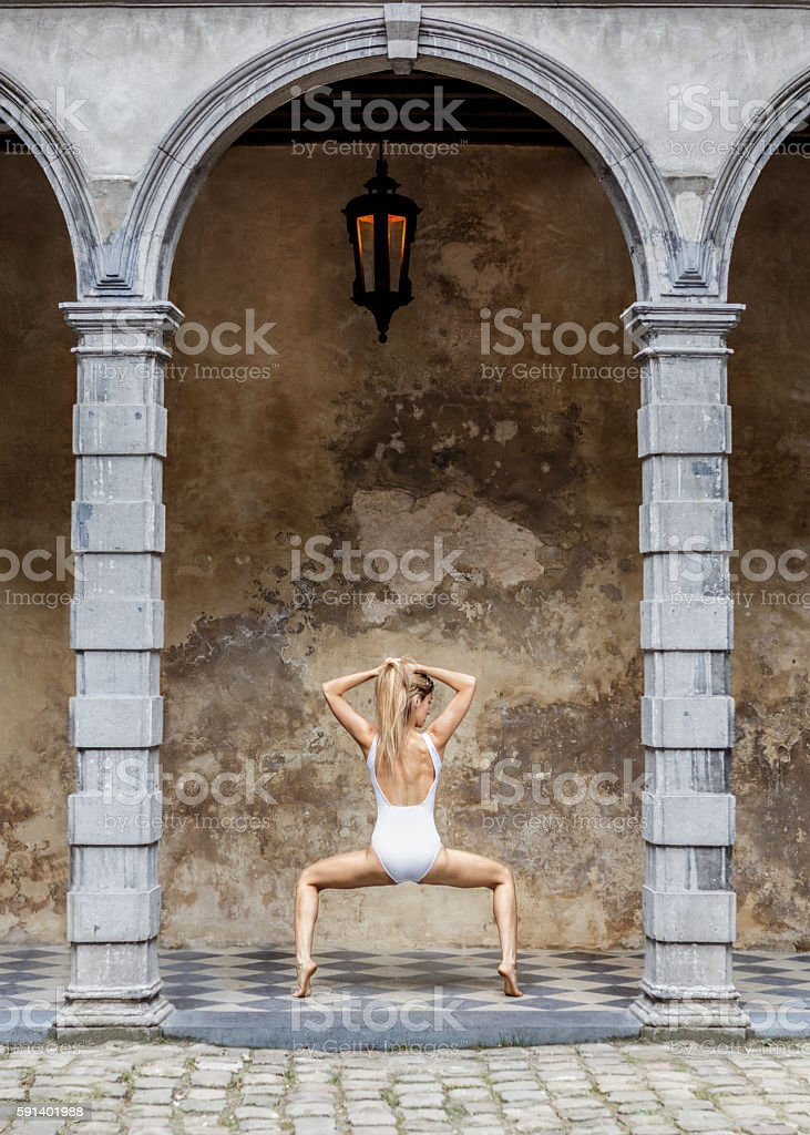 Yoga in the city stock photo