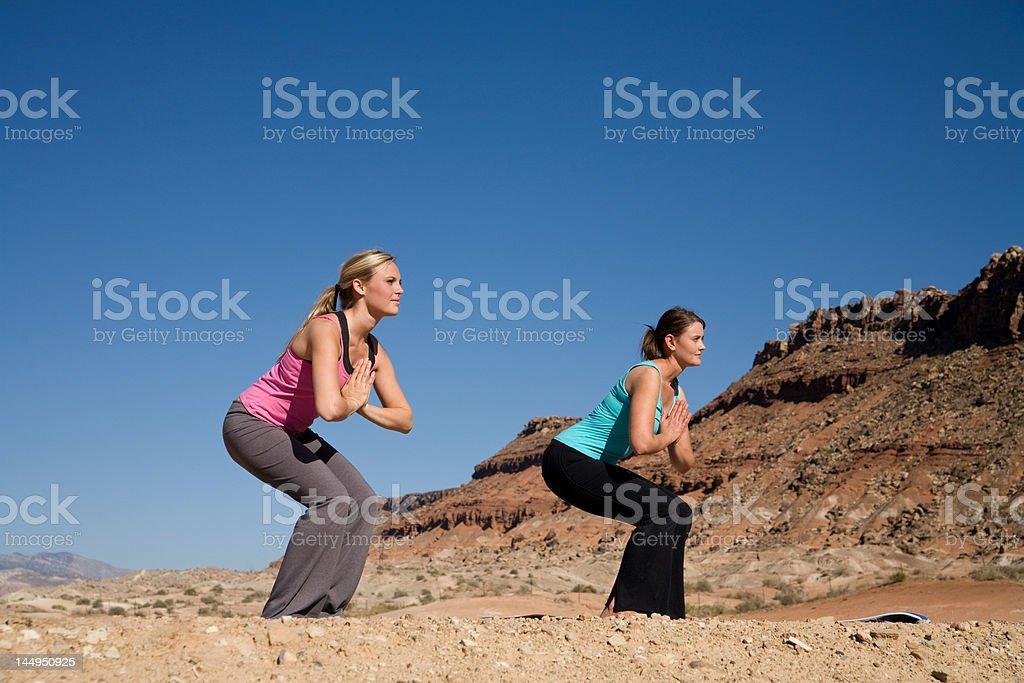 Yoga in the Desert stock photo