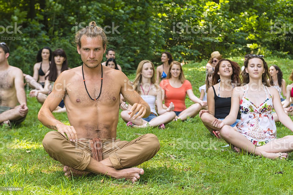 Yoga in the park royalty-free stock photo