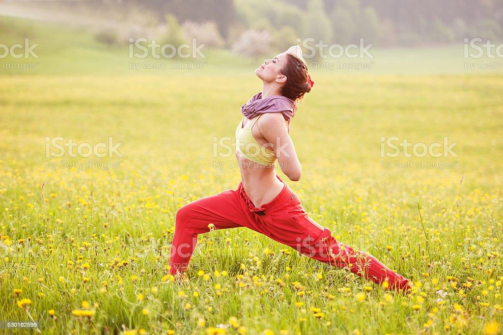 Yoga in the sun stock photo