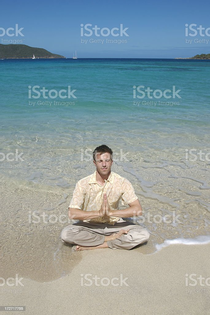 Yoga in the Waves royalty-free stock photo