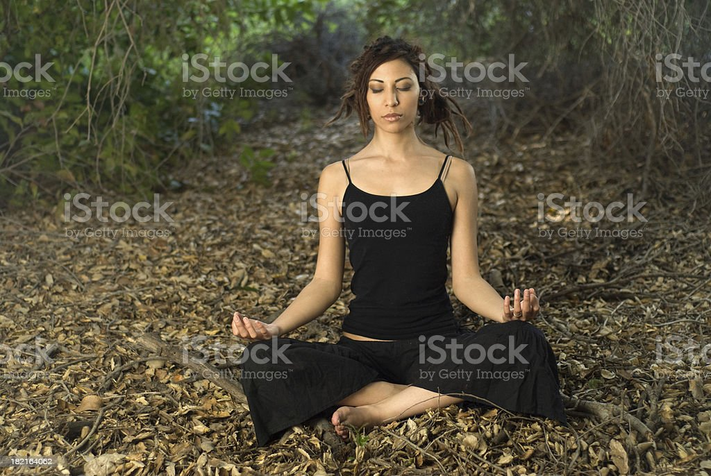 Yoga in the woods stock photo