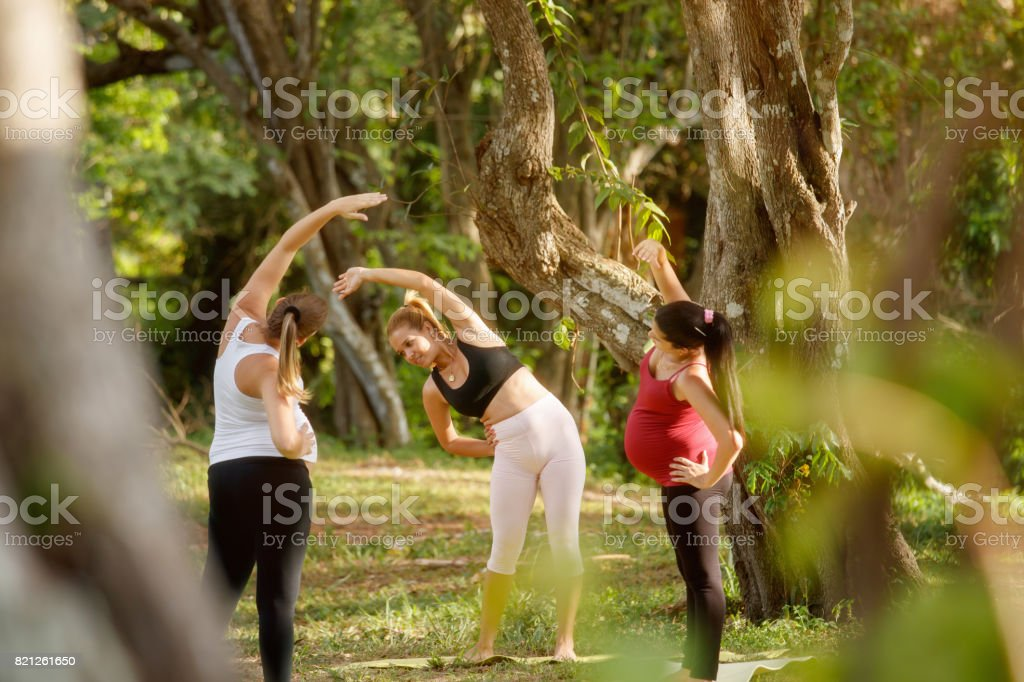 Yoga Instructor Exercising With Pregnant Women In Park stock photo