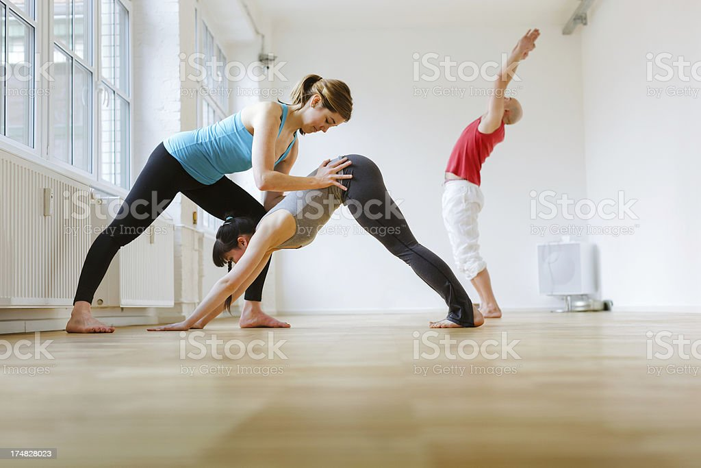 Yoga Instructor with Students stock photo