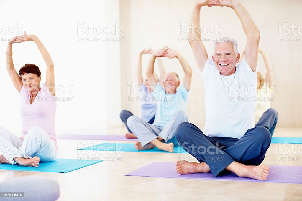 Yoga is for any age stock photo