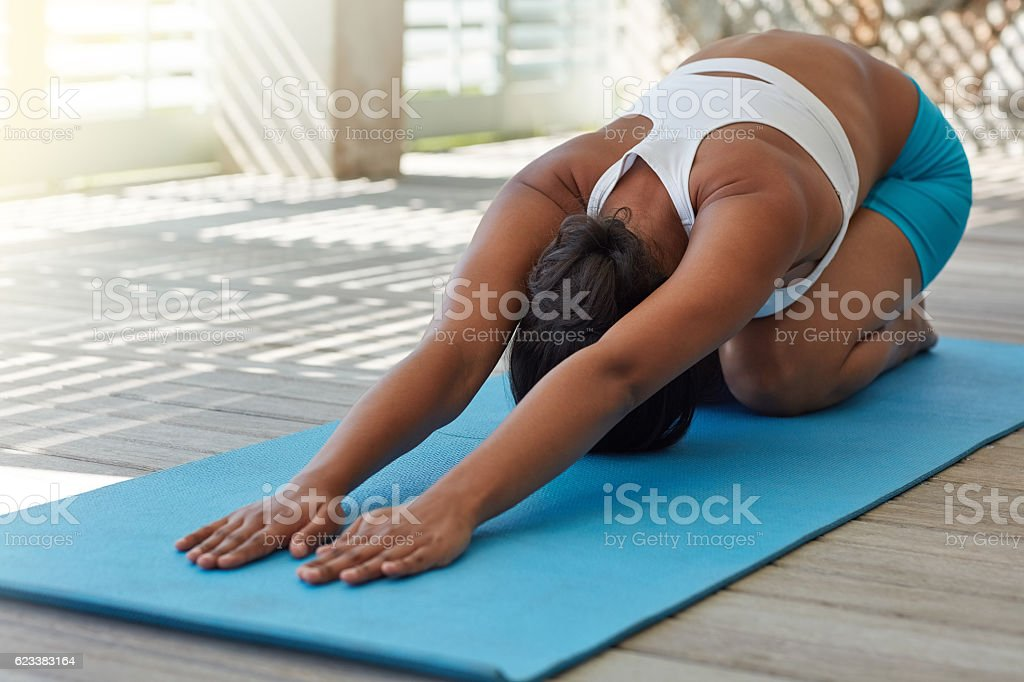 Yoga is more than just poses... stock photo