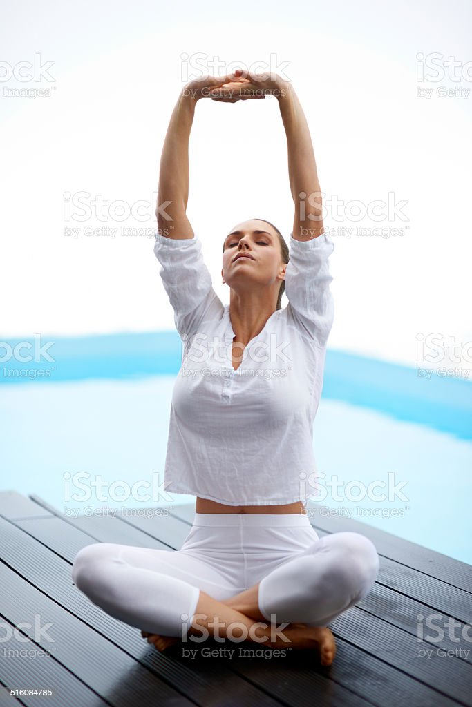 Yoga is part of her life stock photo