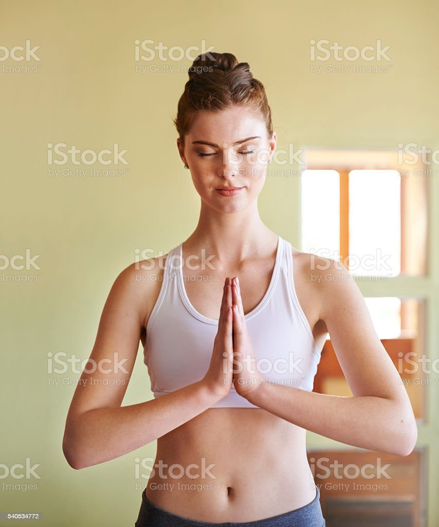 Yoga is the practice of quieting the mind stock photo