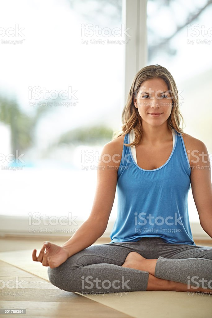 Yoga- just the thing for stress stock photo