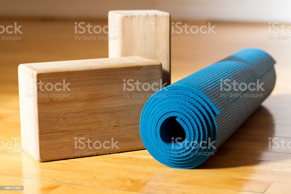 Yoga Mat and Blocks - Yoga Accessories in Studio stock photo