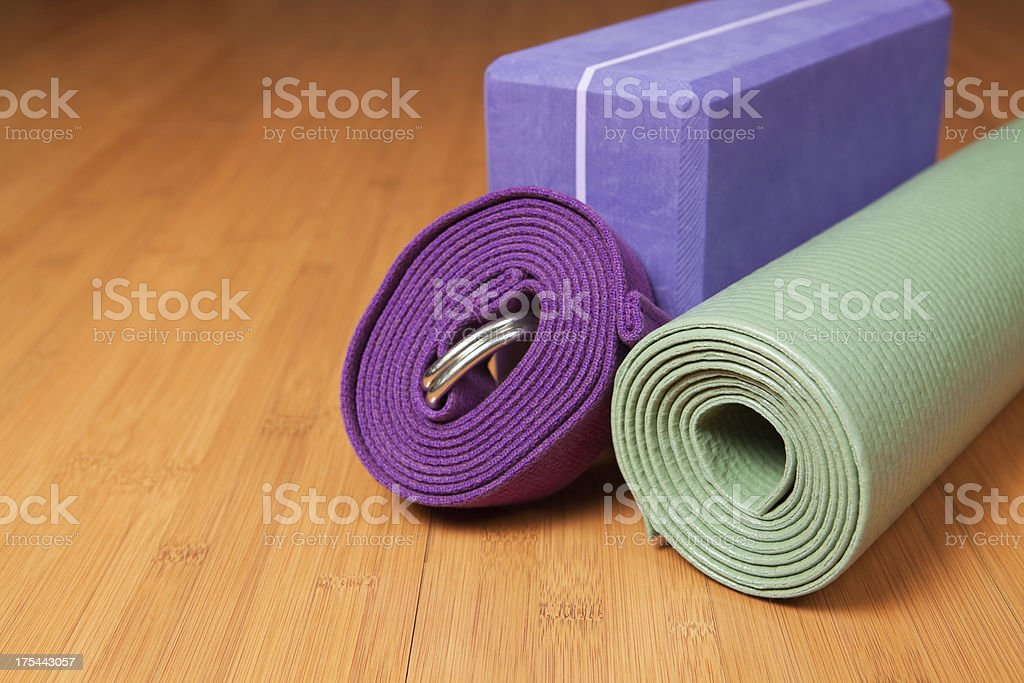 Yoga mat, Block and Strap on Studio Floor royalty-free stock photo