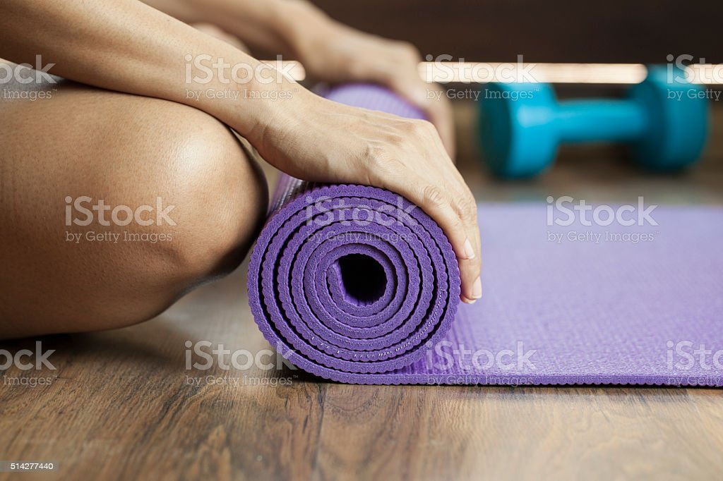 yoga mat in class stock photo