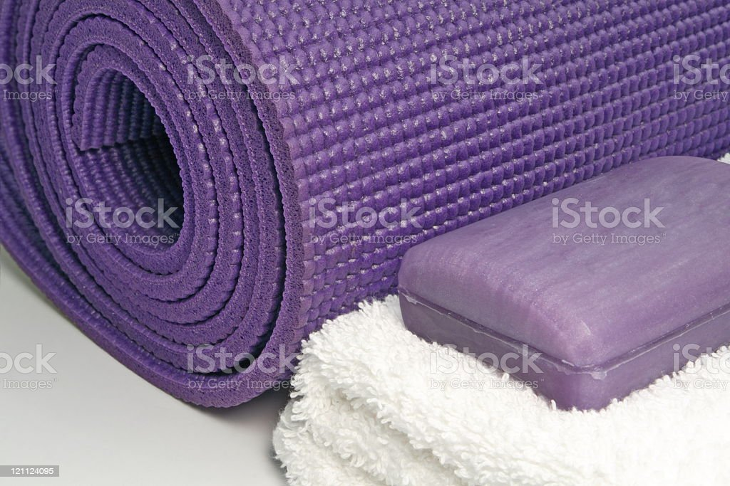 Yoga Mat with Soap and Towel royalty-free stock photo