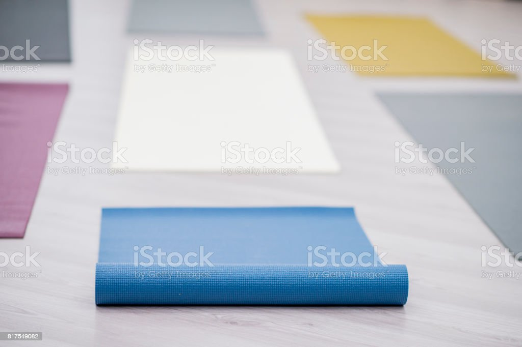 Yoga Mats Ready For Class stock photo