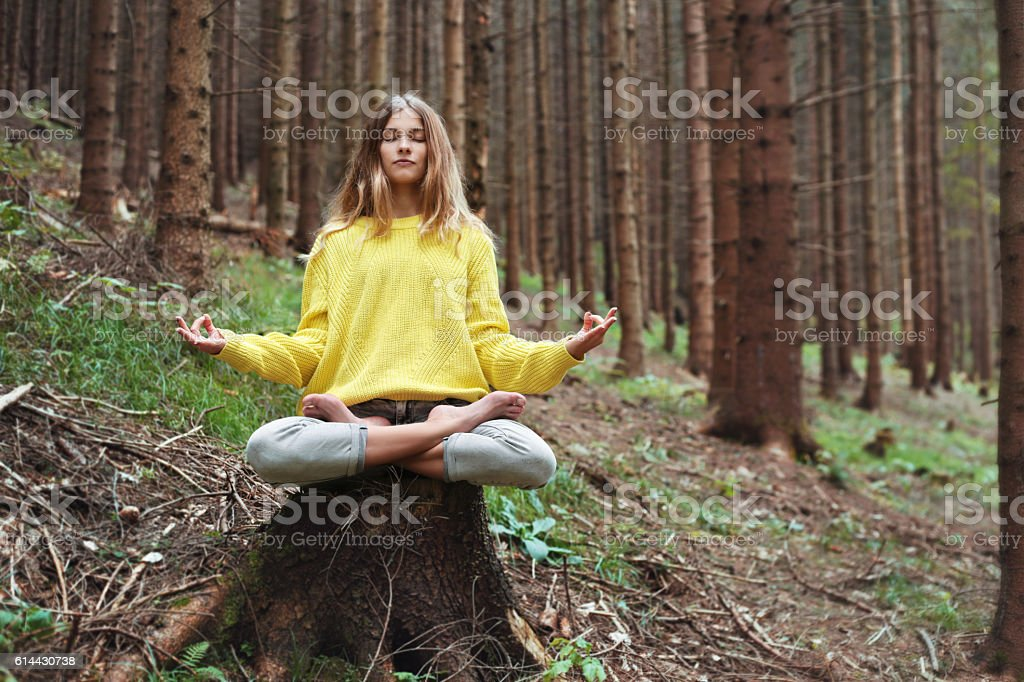 yoga, meditation and relaxation in the nature stock photo