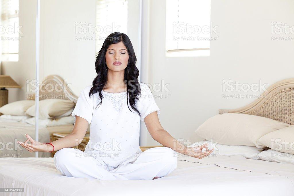 yoga meditation at home royalty-free stock photo