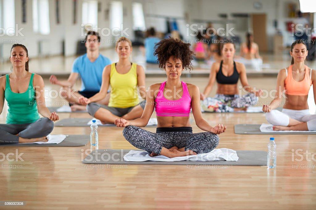 Yoga meditation group stock photo