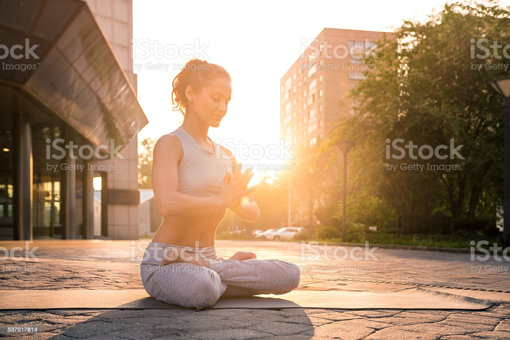 Yoga Meditation in Lotus Position stock photo