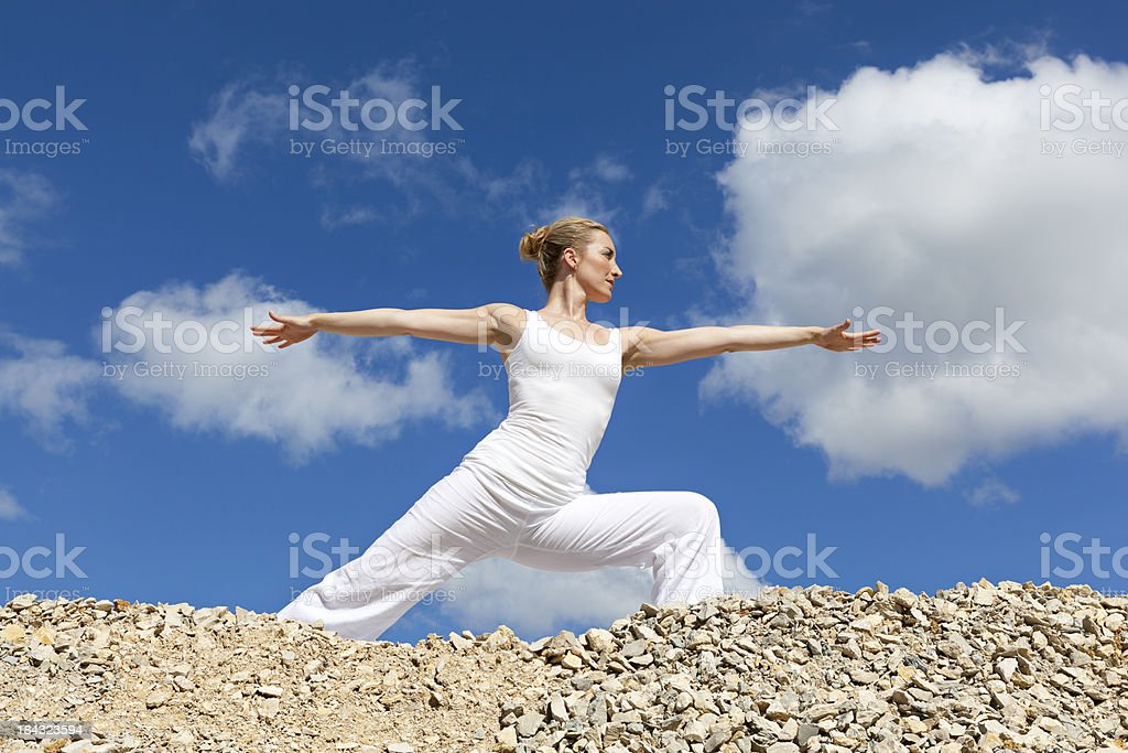 yoga meditation - warrior pose royalty-free stock photo
