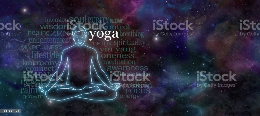 Yoga Meditation Website Header stock photo