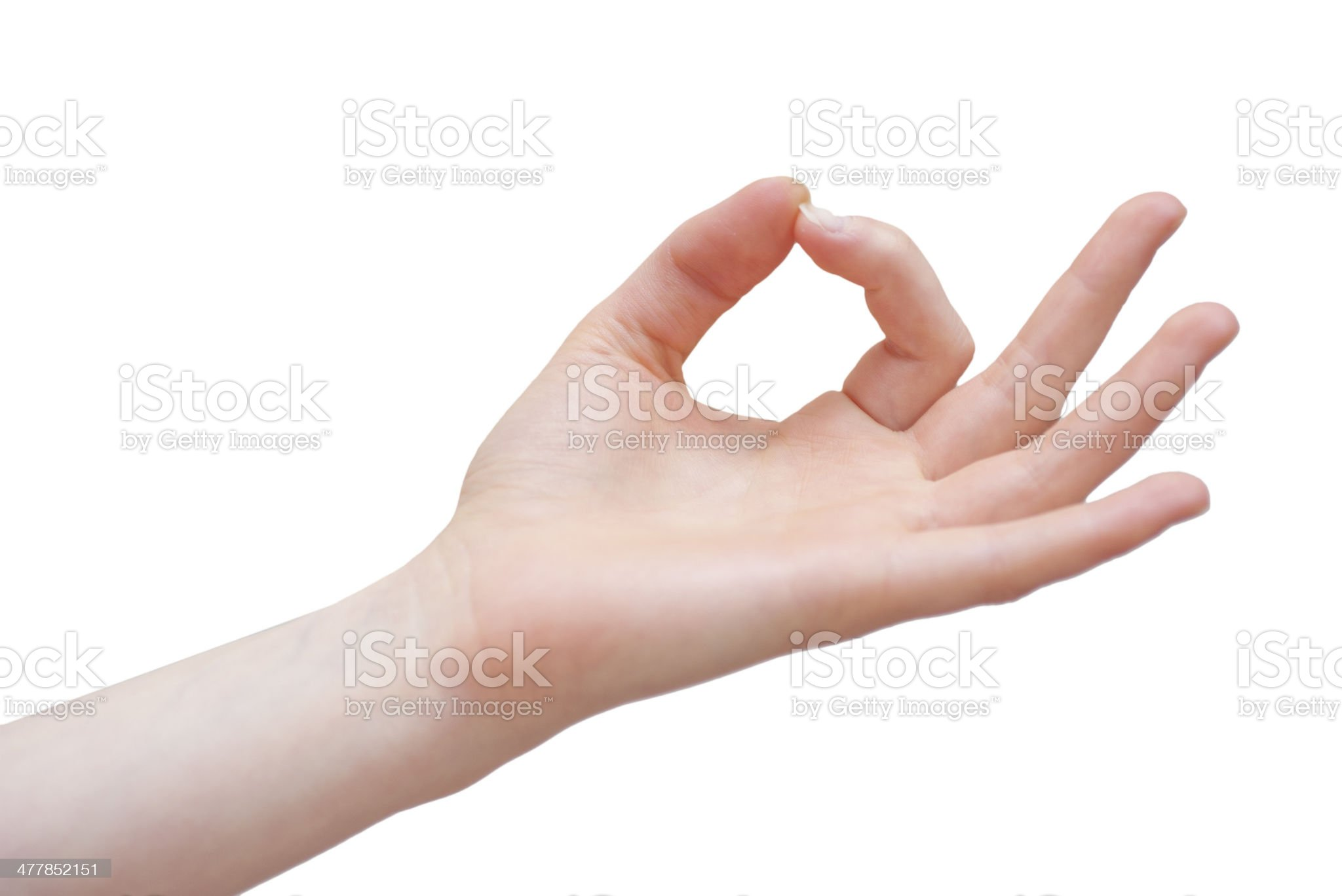 Yoga mudra with hand on white background royalty-free stock photo