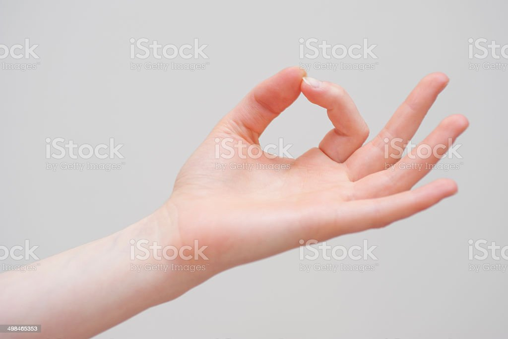 Yoga mudra with hand on white background stock photo