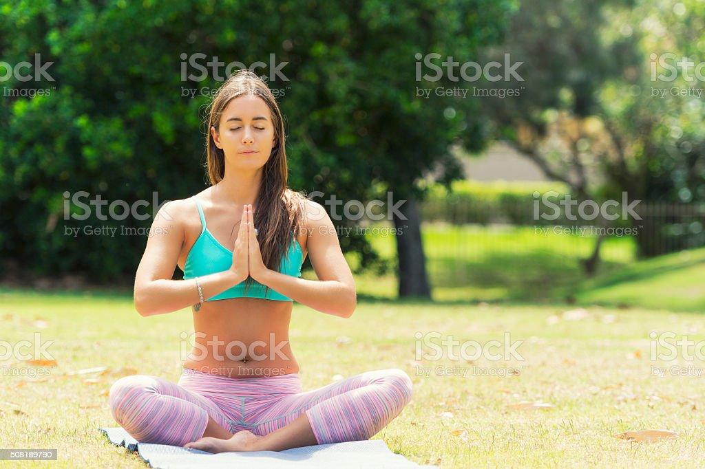 Yoga namaste stock photo