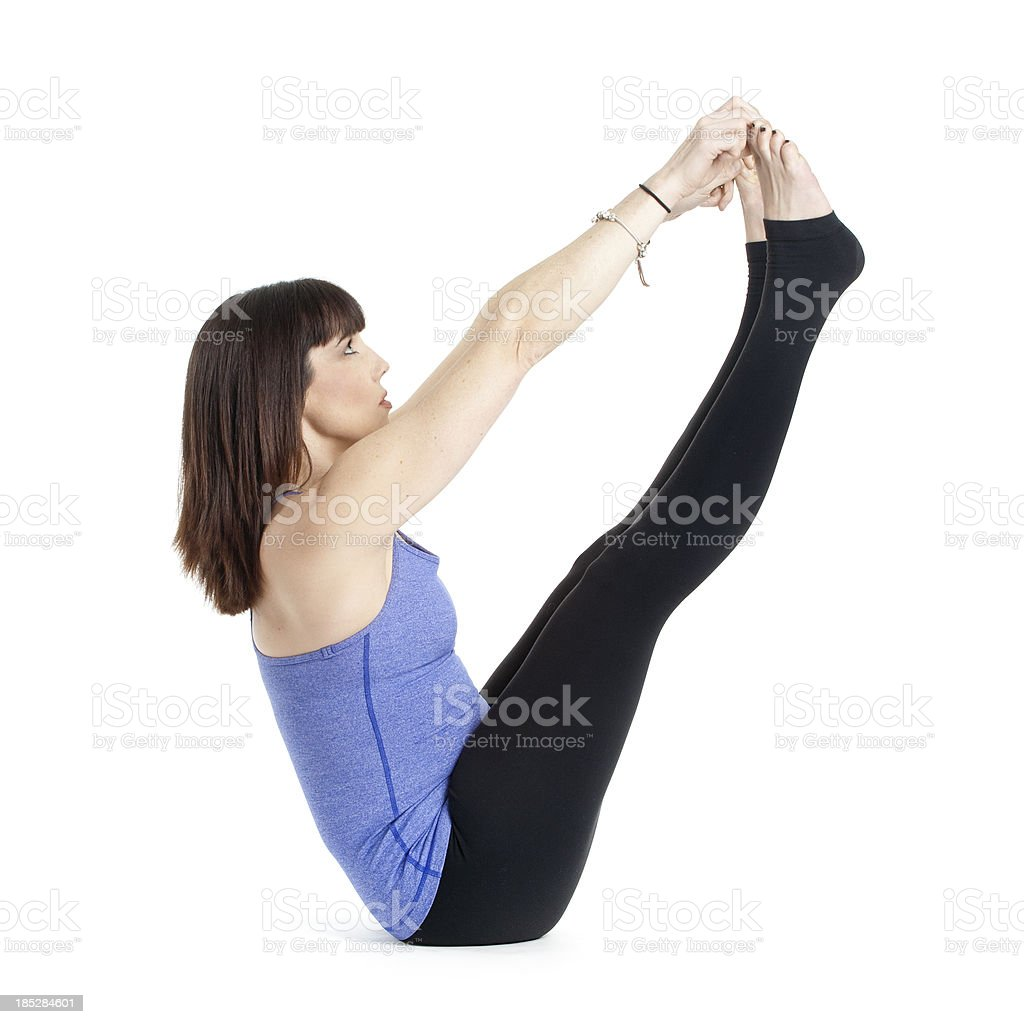 Yoga naukasana boat pose on white stock photo