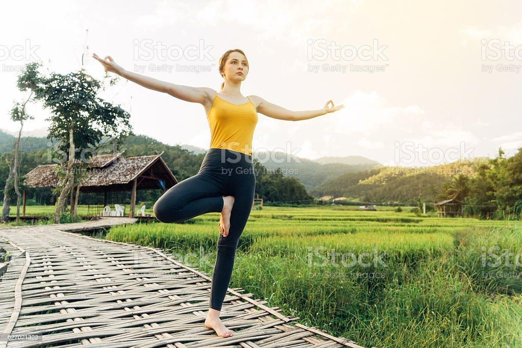 Yoga near the rice field stock photo