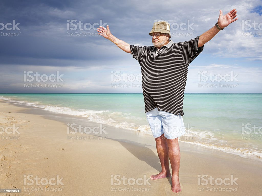 Yoga on beach stock photo