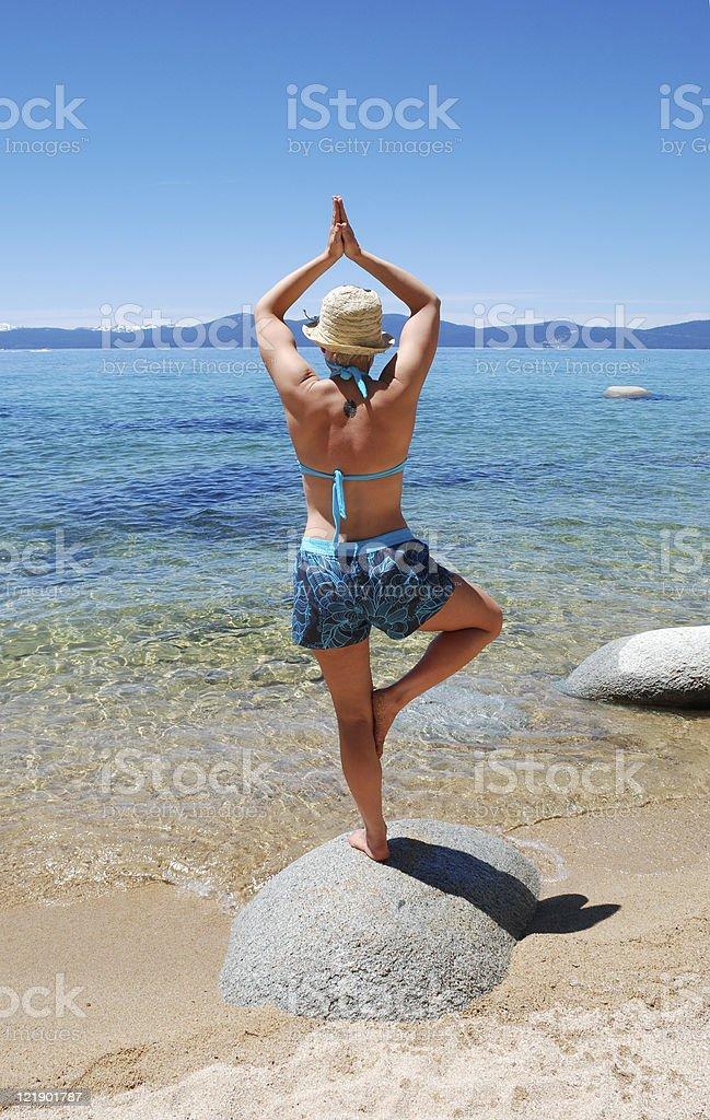 Yoga on Lake Tahoe royalty-free stock photo