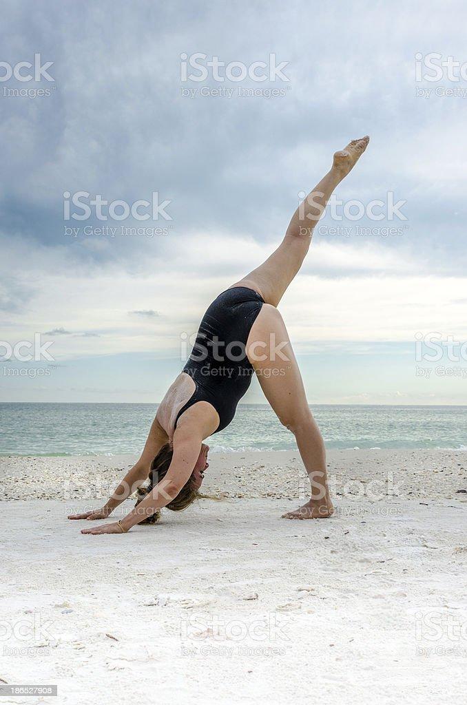Yoga on the beach royalty-free stock photo