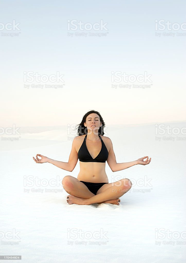 Yoga on the Sand royalty-free stock photo