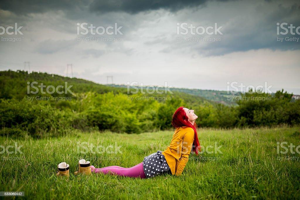 Yoga outdoors stock photo