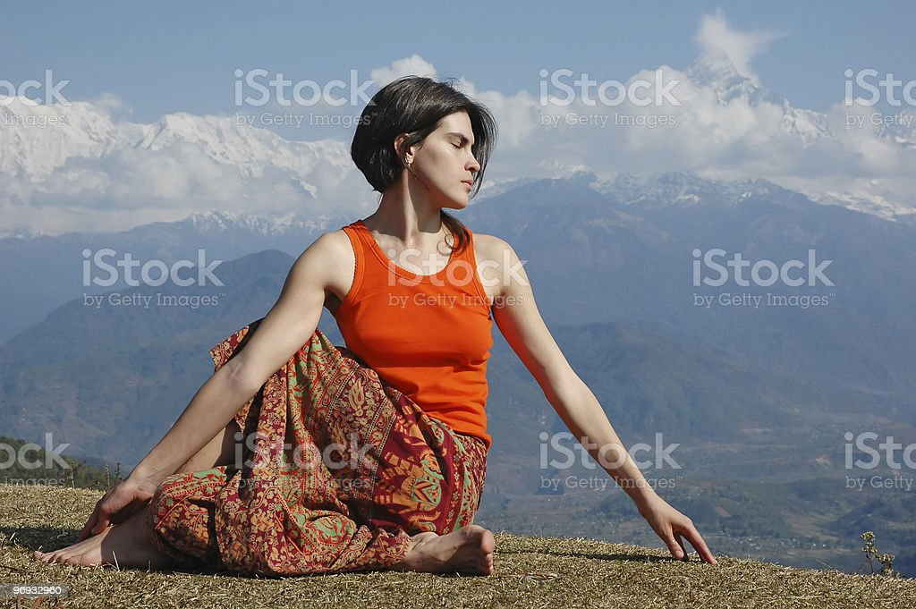 Yoga outdoors royalty-free stock photo