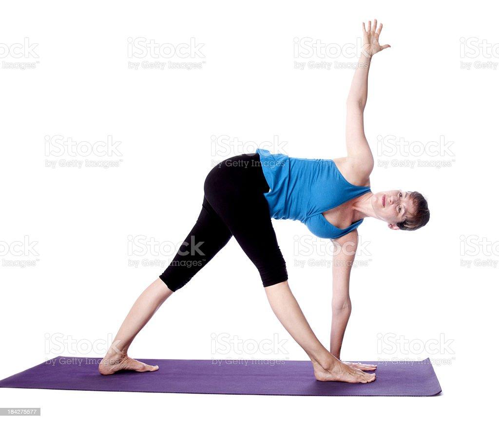 Yoga Parivritta Trikonasana Pose stock photo