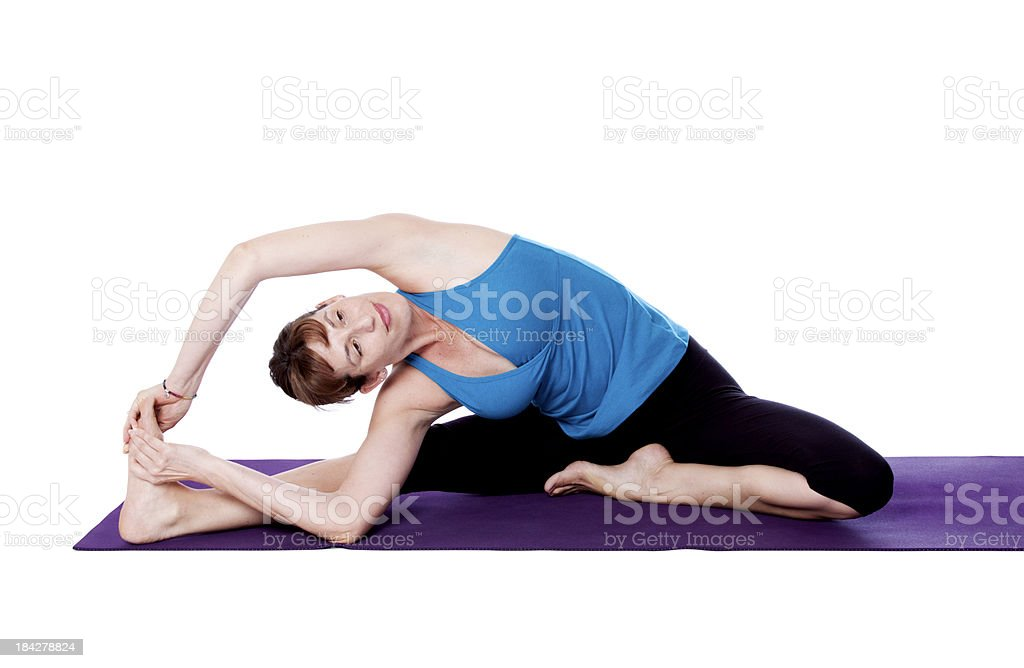 Yoga Parivrtta  Janu Sirsasana Pose stock photo