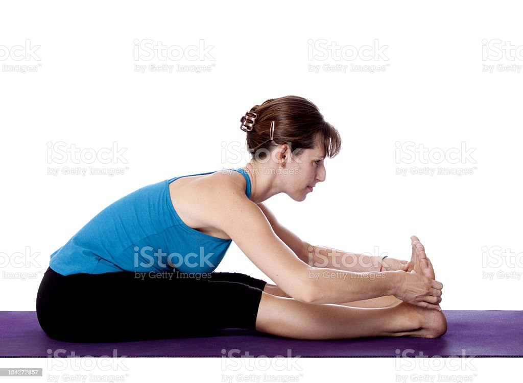 Yoga  Paschmiottanasana pose stock photo